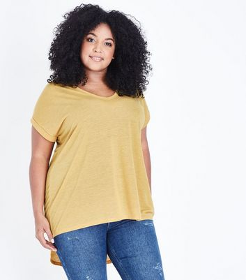 Curves Mustard Split Back Oversized T-Shirt