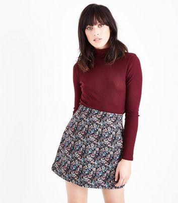 Black Floral Jacquard Mini Skirt