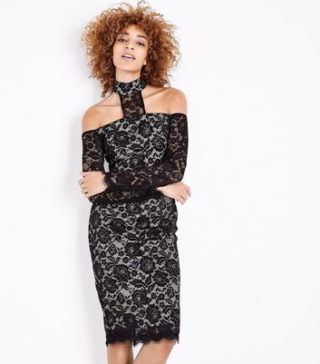 AX Paris Black Lace High Neck Midi Dress
