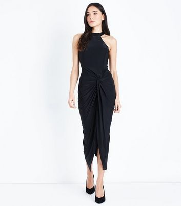 AX Paris Ruched Twist Front Midi Dress
