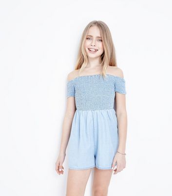Teens Pale Blue Shirred Playsuit by New Look