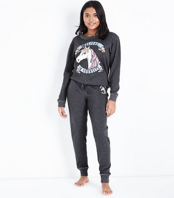 Petite Dark Grey Believe In Yourself Unicorn Joggers