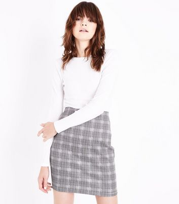 Cameo Rose Light Grey Prince of Wales Check Mini Skirt
