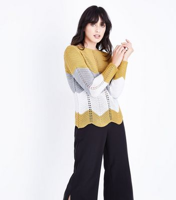 Cameo Rose Yellow Wavy Stripe Scallop Hem Jumper