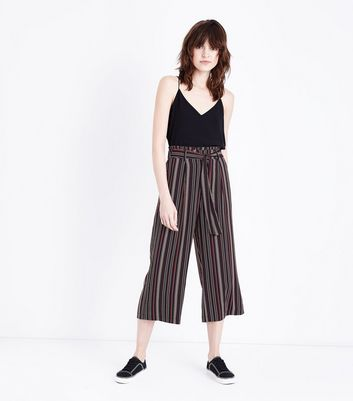 Burgundy Stripe Cropped Tie Waist Trousers