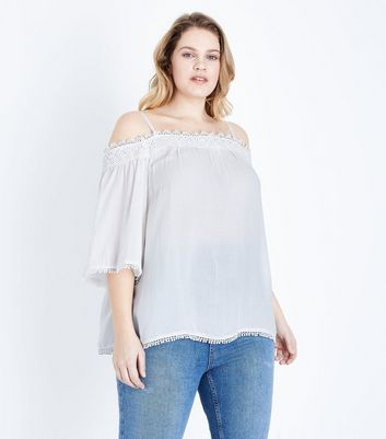 Curves Off White Crochet Trim Cold Shoulder Top