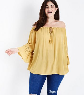 Curves Yellow Tassel Tie Bardot Neck Top