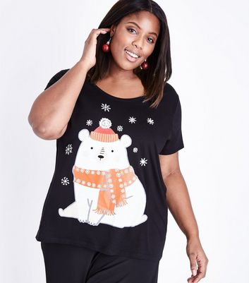 Curves Black Polar Bear Christmas T-Shirt