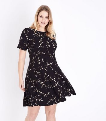 Curves Black Lattice Back Jersey Dress
