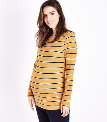 Maternity Mustard Yellow Stripe T-Shirt