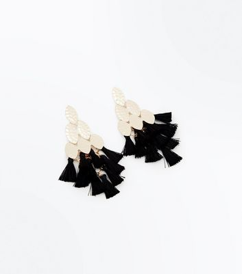 Black Triangle Tassel Drop Earrings
