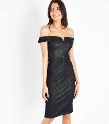 AX Paris Black Glitter Bardot Neck Midi Dress