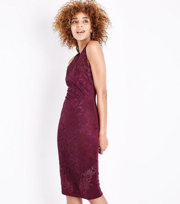 AX Paris Purple Lace Sleeveless Midi Dress