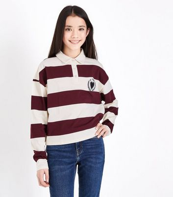 Teens White and Red Striped Rugby Top