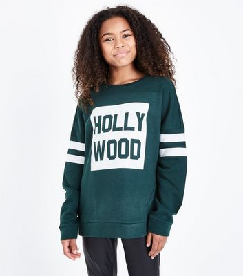 Teens Dark Green Hollywood Print Stripe Sleeve Sweatshirt