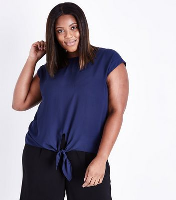 Curves Navy Tie Front T-Shirt