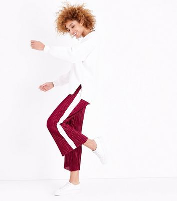 Red Plisse Cropped Side Stripe Trousers
