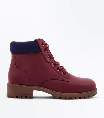 Teens Dark Red Contrast Cuff Lace Up Hiker Boots
