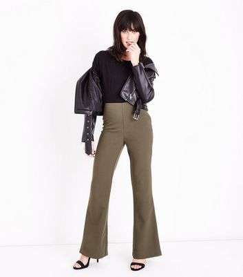 Khaki Crepe Flared Trousers