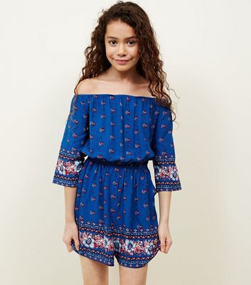 Teens Blue Floral Border Print Playsuit