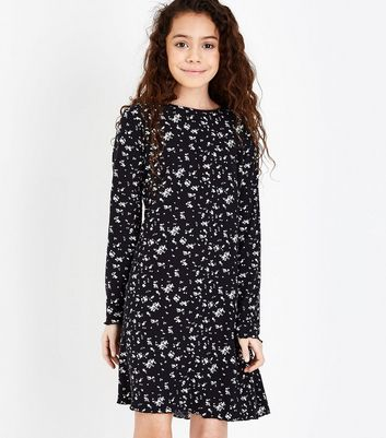 Teens Black Floral Soft Touch Jersey Swing Dress