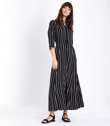 Black Stripe Maxi Shirt Dress
