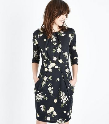 Black Floral Tulip Dress