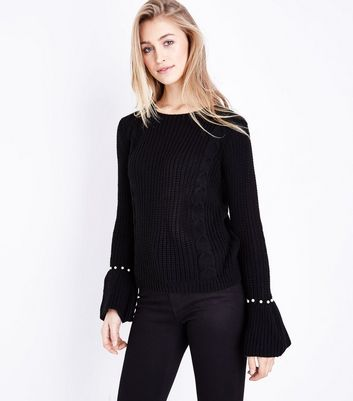 Mela Black Pearl Cuff  Cable Knit Jumper