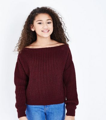 Teens Burgundy Bardot Neck Ribbed Knit Jumper