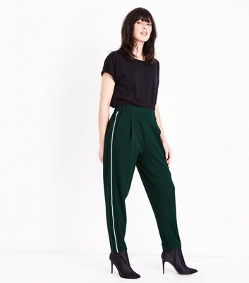 Green Side Stripe Tapered Trousers