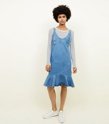 Blue Frill Hem Denim Pinafore Dress
