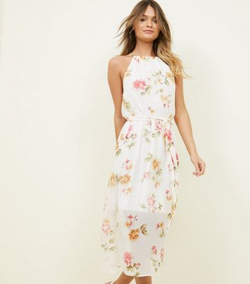 White Floral High Neck Midi Dress
