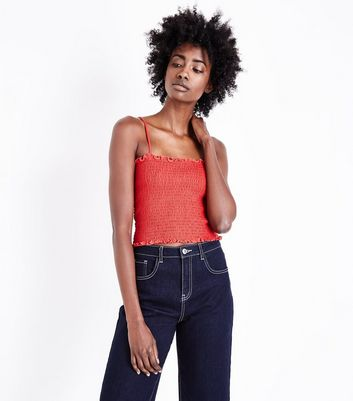 Red Square Neck Shirred Cami