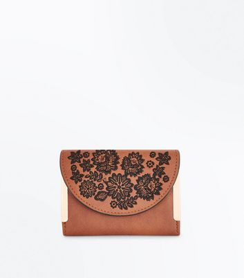 Tan Floral Embroidered Small Purse