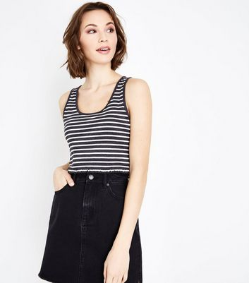Dark Grey Stripe Frill Hem Vest Top