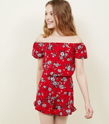 Teens Red Floral Frill Hem Shorts