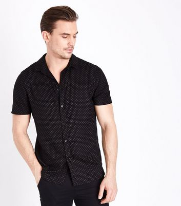 Black Polka Dot Short Sleeve Shirt