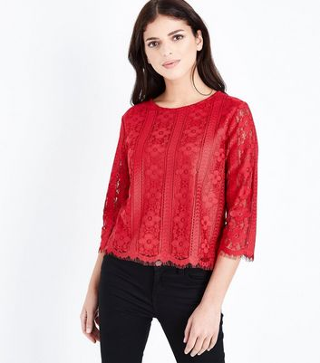 Tall Red Scallop Hem Lace Top