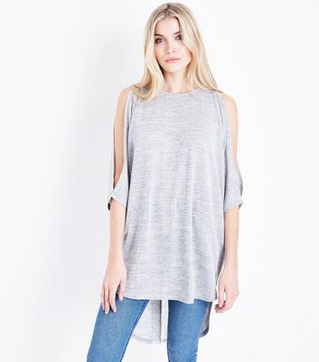 Tall Pale Grey Crochet Back Fine Knit Top