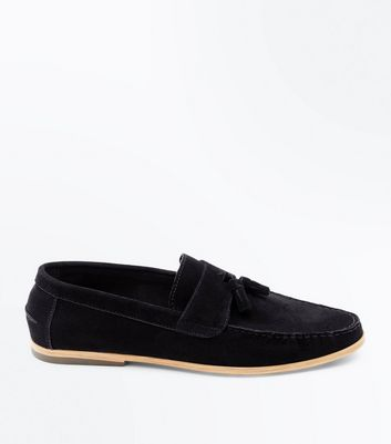 Black Tassel Faux Suede Loafers
