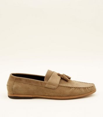 Stone Faux Suede Stitched Tassel Loafers