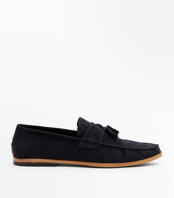 Navy Faux Suede Stitched Tassel Loafers