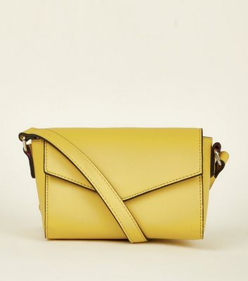 Yellow Front Flap Cross Body Bag