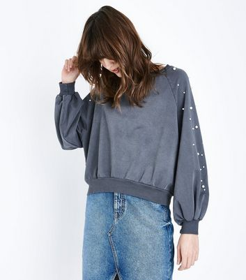 Lulua London Pearl Embellished Balloon Sleeve Jumper