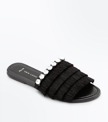 Wide Fit Black Tassel Gem Strap Sliders