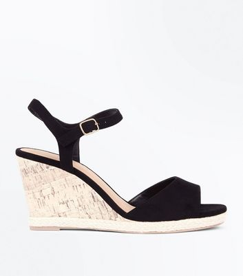 Wide Fit Black Suedette Peep Toe Wedges