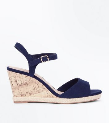 Wide Fit Navy Suedette Peep Toe Wedges