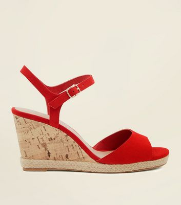 Wide Fit Red Suedette Peep Toe Wedges by New Look