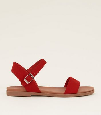 Wide Fit Red Suedette Flat Sandals