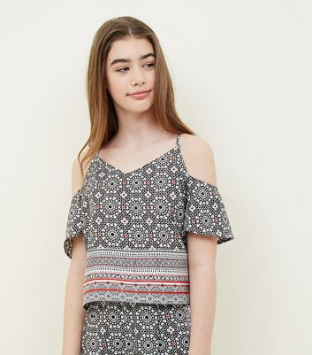 Teens Black Tile Print Cold Shoulder Top